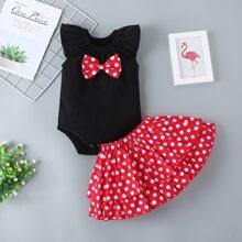 Baby Girl Bow Front Bodysuit With Polka Dot Skirt