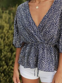 All Over Print Surplice Front Babydoll Blouse