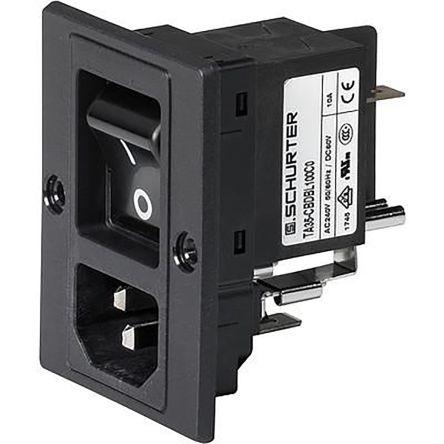 Schurter C14, C18 Panel Mount, Screw Mount IEC Connector Plug, 10 (IEC) A, 15 (UL/CSA) A, 250 V ac (10)