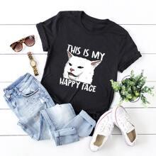 T-Shirt mit Karikatur Katze & Buchstaben Grafik