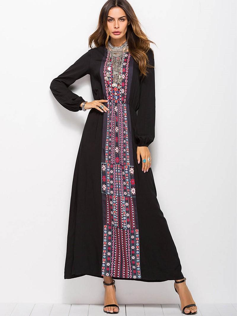 Ericdress African Fashion Scoop Blue Maxi Dress