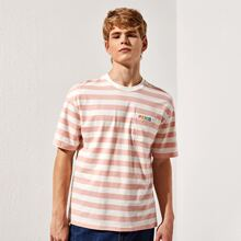 Men Embroidery Letter Patch Pocket Striped Tee