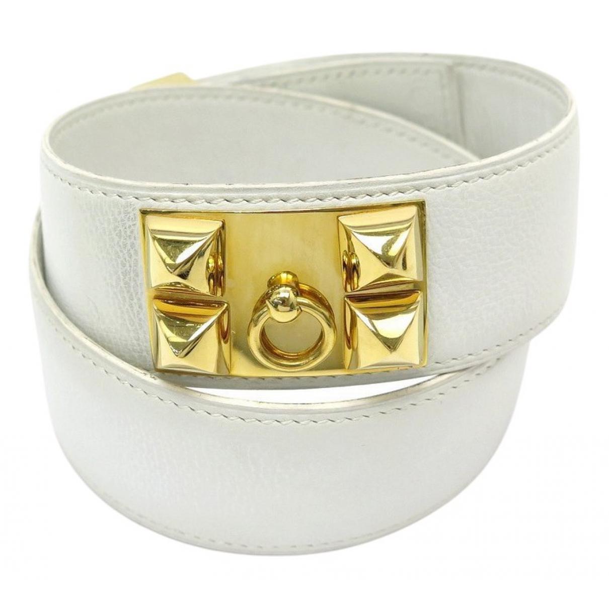 Hermès Collier de chien White Leather belt for Women 70 cm