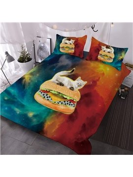 Kitten Sits On A Hamburger In Red And Green Galaxies Printed 3-Piece Comforter Sets