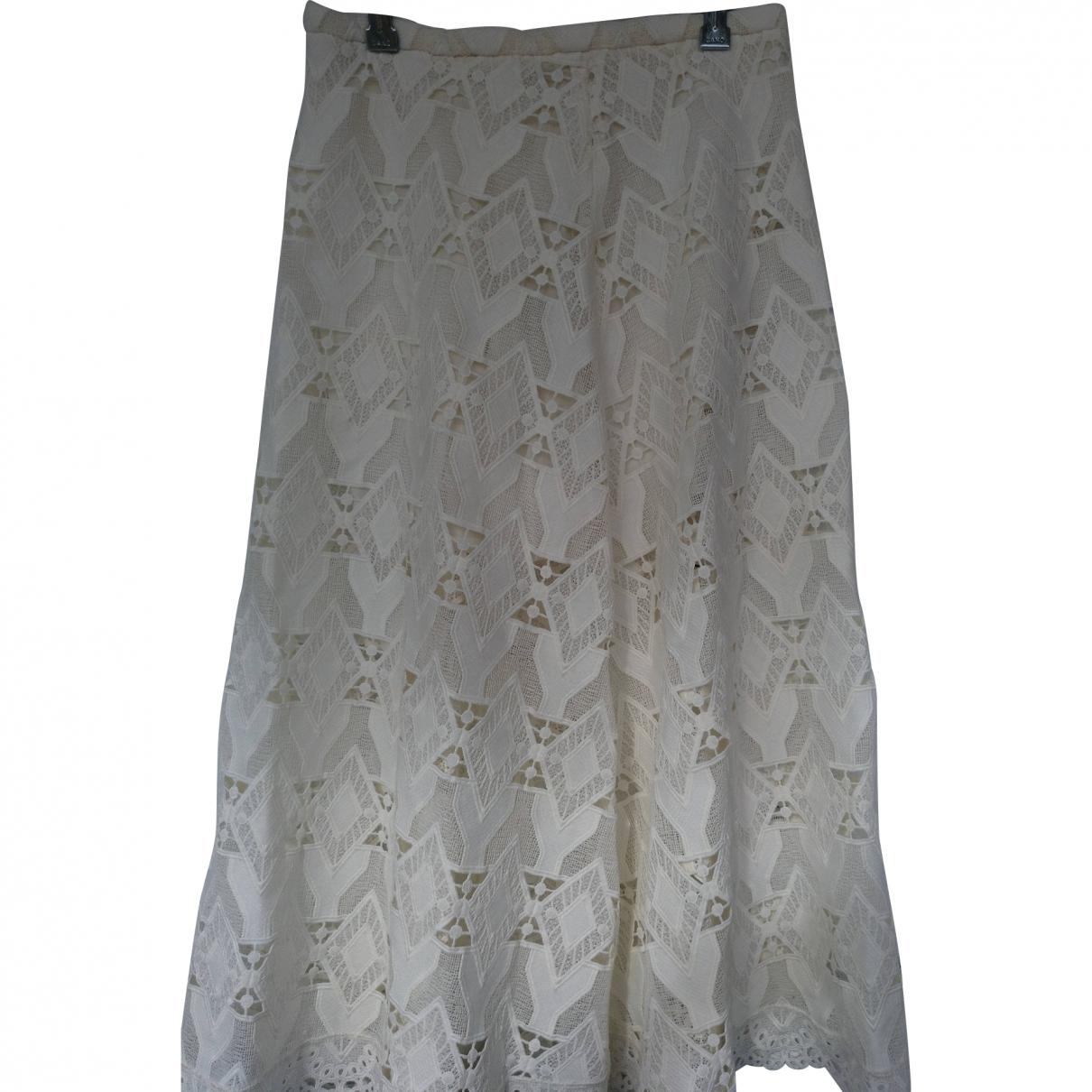 Maje \N White Cotton - elasthane skirt for Women One Size FR