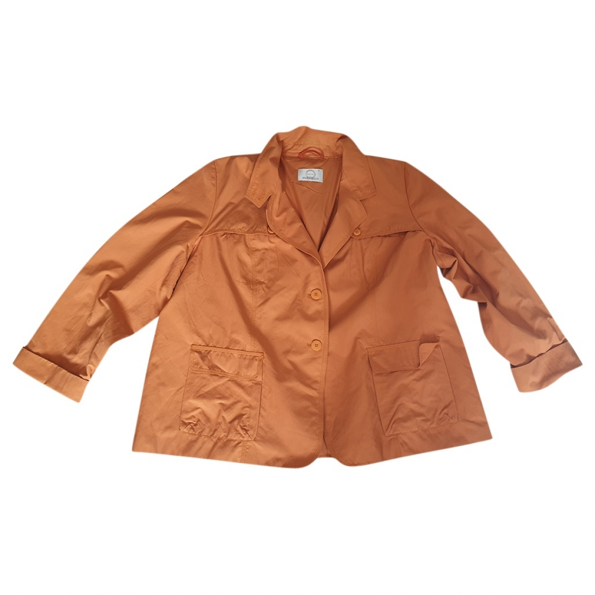Non Signé / Unsigned Oversize Orange Cotton jacket for Women XXL International