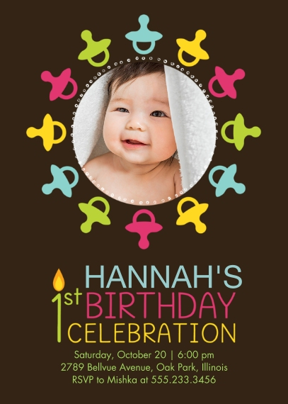 1st Birthday Invitations 5x7 Folded Cards, Standard Cardstock 85lb, Card & Stationery -1st Birthday Pacifiers