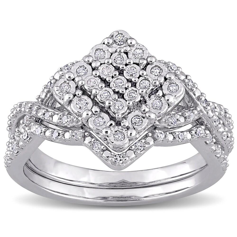 Miadora Sterling Silver 1/4ct TDW Diamond Vintage Clustered Split Shank Bridal Ring Set (6)