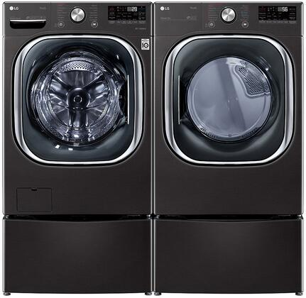 Black Steel Smart Side By Side Front Load Laundry Pair with WM4500HBA 27