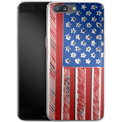 OnePlus 5 Silikon Handyhuelle - American Flag Colour von caseable Designs