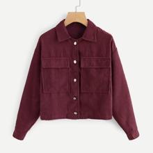 Corduroy Pocket Decoration Solid Collar Jacket