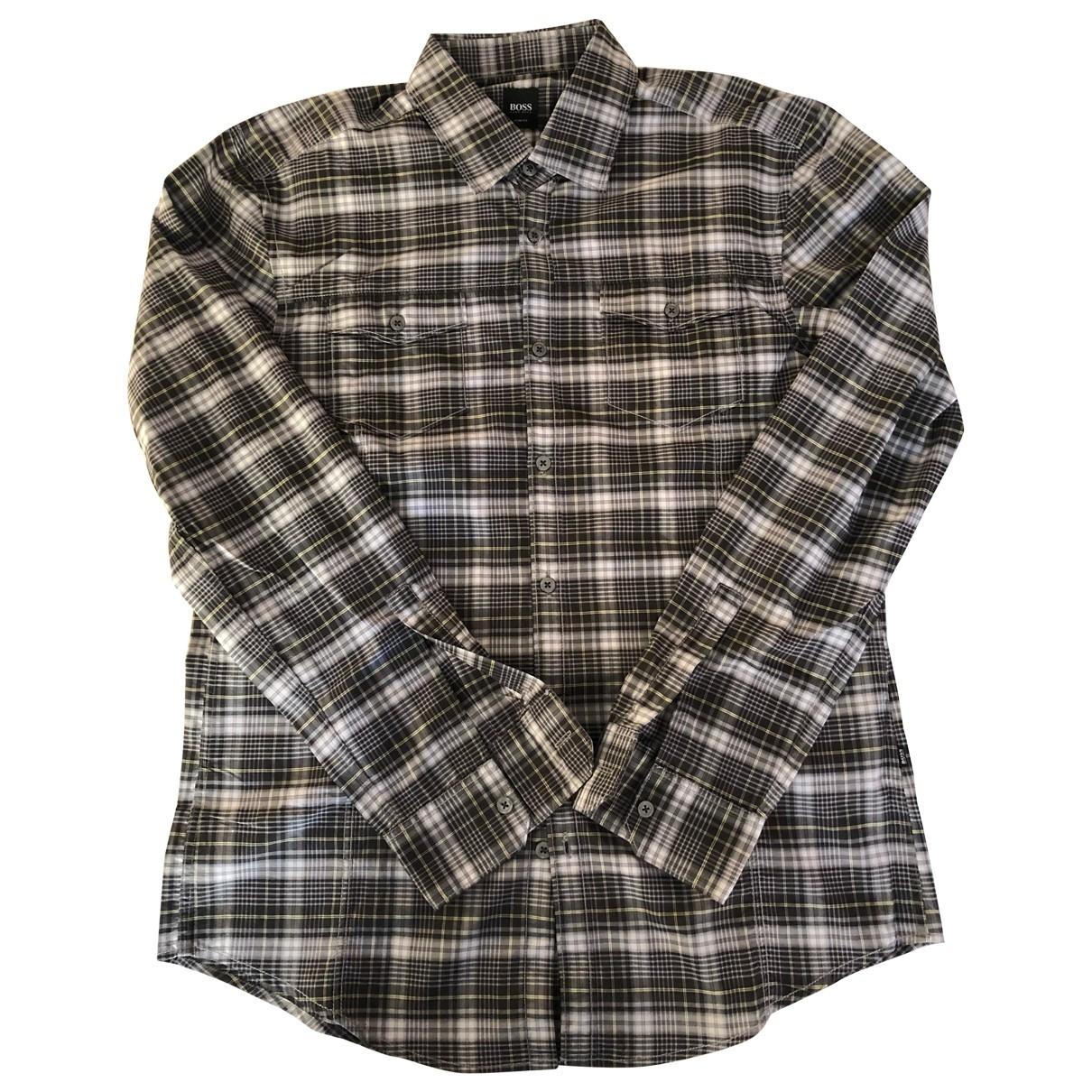 Boss \N Hemden in  Grau Baumwolle