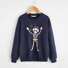 Pullover mit Skelett Muster