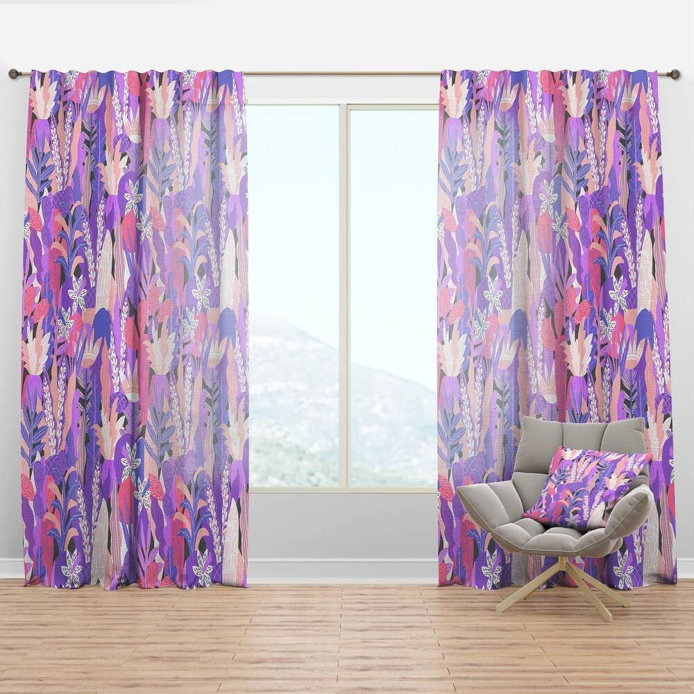 Designart 'Fantasy Flowers In Purple' Mid-Century Modern Curtain Panel (50 in. wide x 84 in. high - 1 Panel)