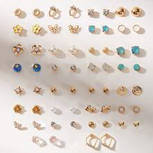 30pairs Faux Pearl Decor Earrings