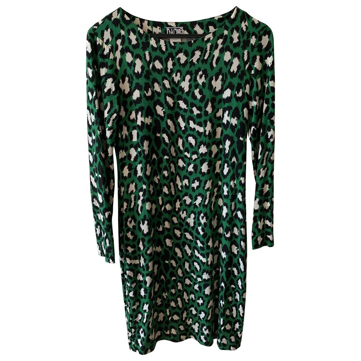 Diane Von Furstenberg \N Green Silk dress for Women 6 US