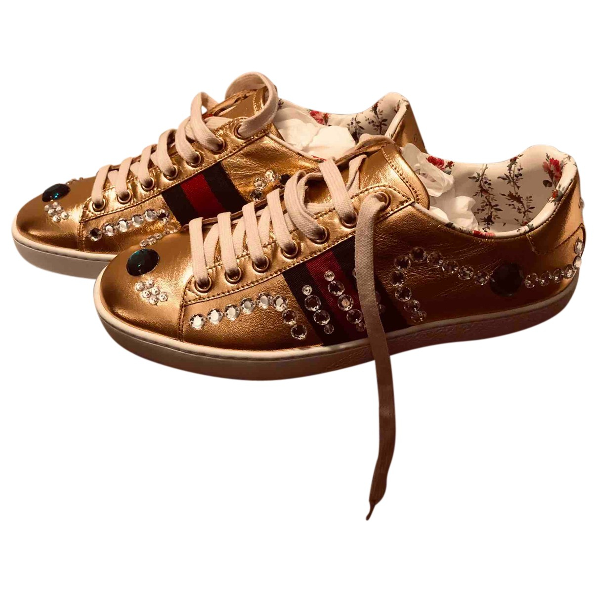 Gucci N Gold Leather Trainers for Women 36.5 IT
