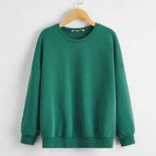 Einfarbiger Pullover mit sehr tief angesetzter Schulterpartie