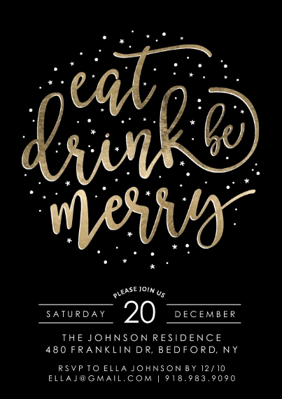 Christmas & Holiday Party Invitations 5x7 Cards, Standard Cardstock 85lb, Card & Stationery -Holiday Invite Gold Script