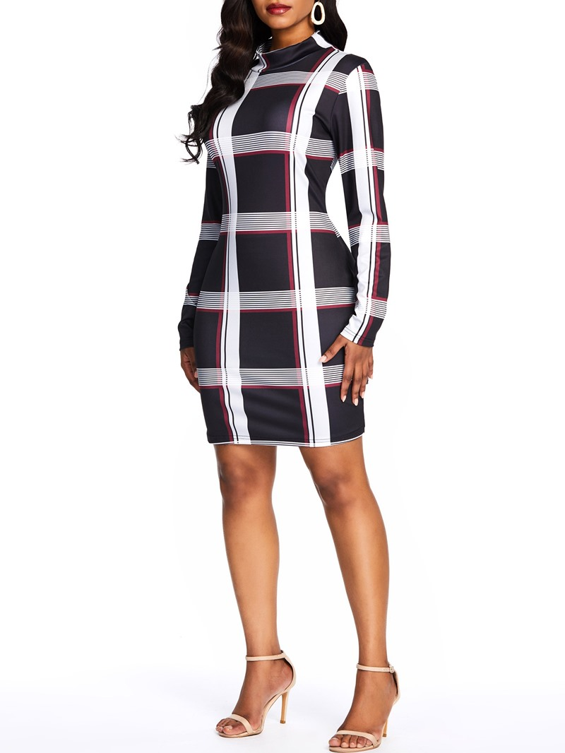 Ericdress Plaid Patchwork Long Sleeve Above Knee Standard-Waist Dress