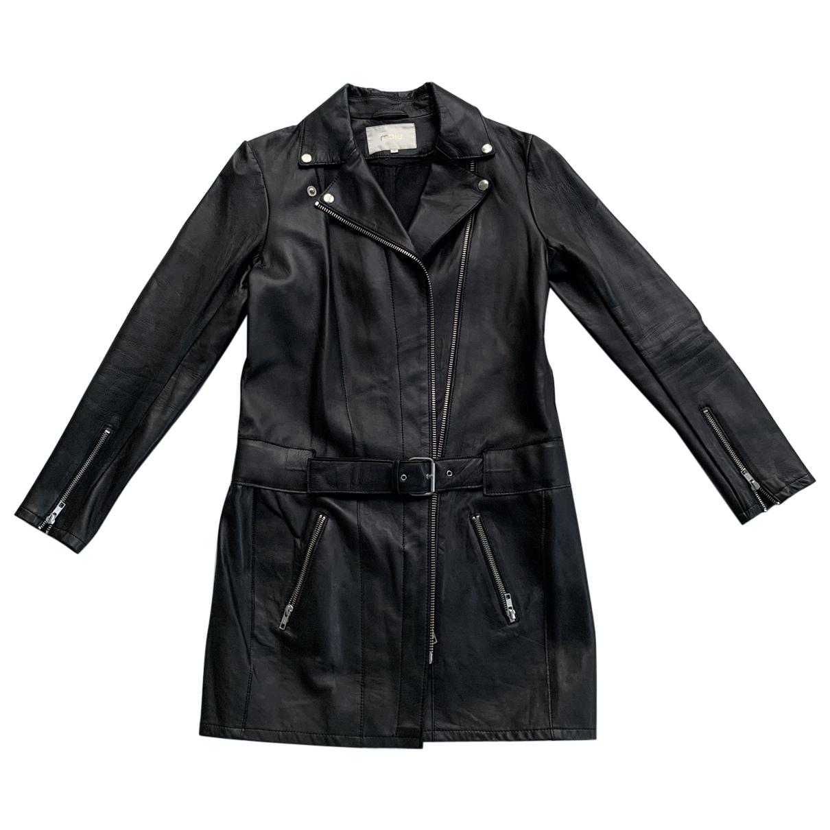 Maje N Black Leather coat for Women 40 FR