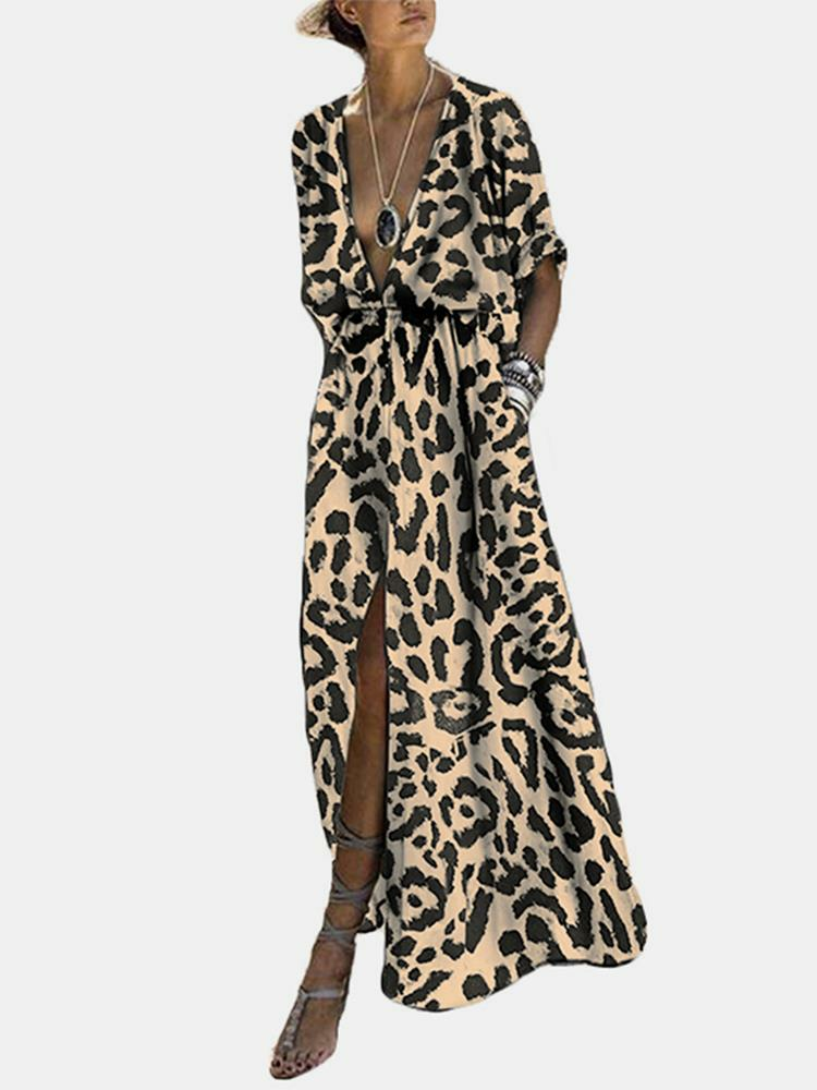 Splited Leopard Print Short Sleeve Maxi Dress For Women