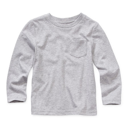 Okie Dokie Toddler Boys Crew Neck Long Sleeve T-Shirt, 3t , Gray