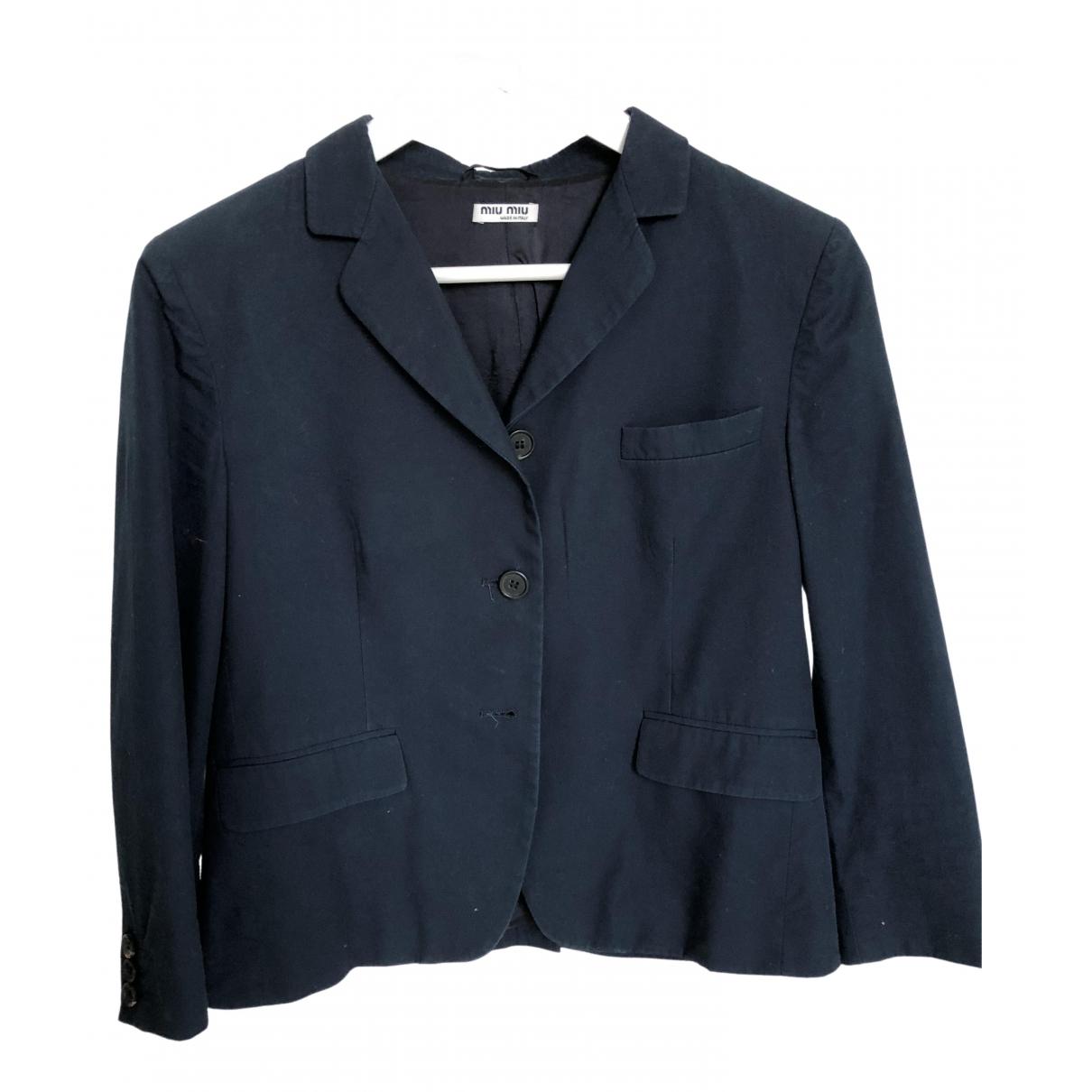 Miu Miu \N Blue Cotton jacket for Women 44 IT