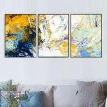 3 Stuecke Wandmalerei mit abstraktem Muster ohne Rahmen