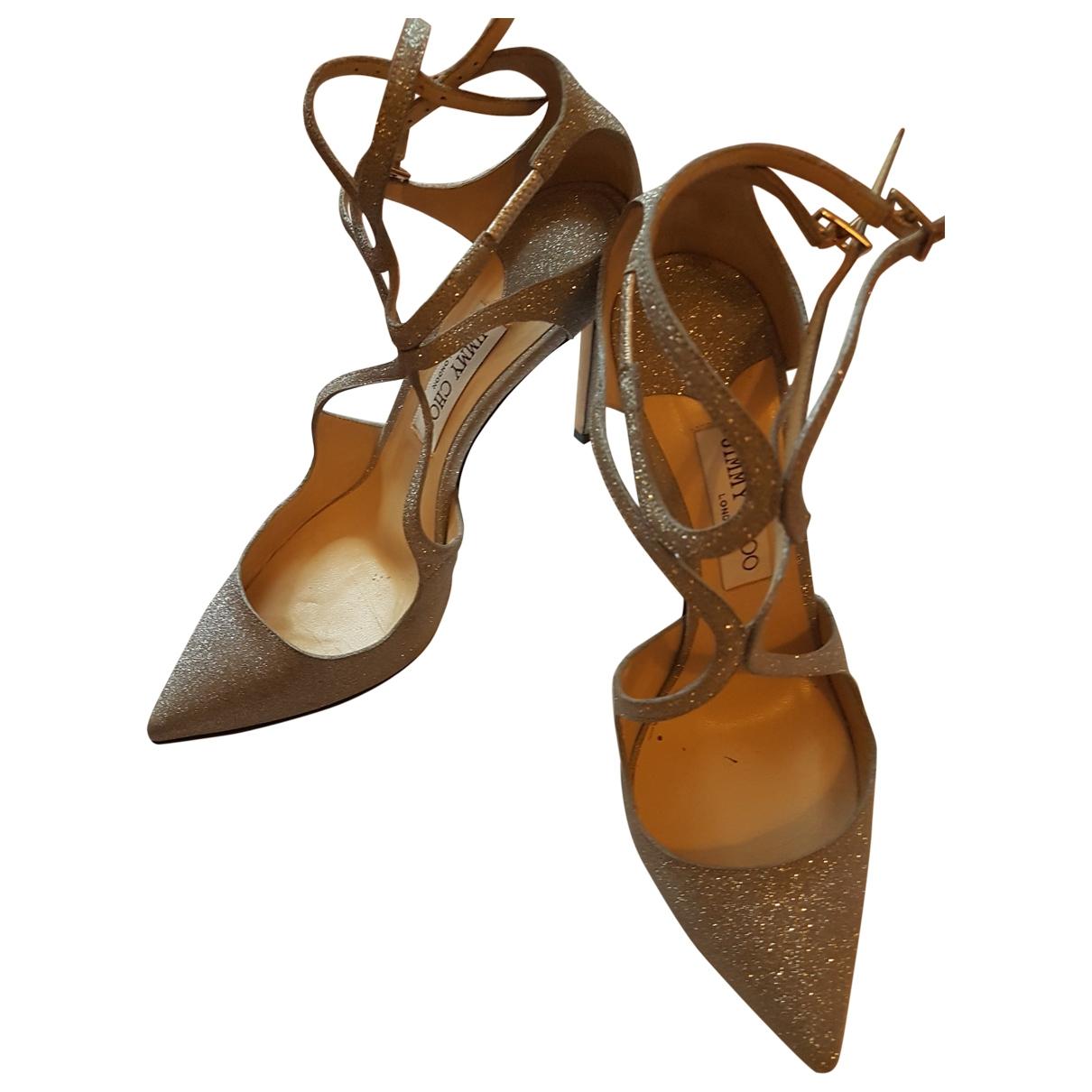 Jimmy Choo \N Grey Glitter Sandals for Women 39.5 EU