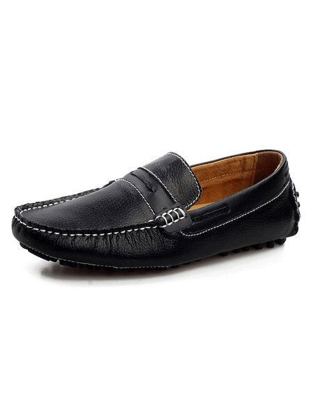 Milanoo Mocasin mocasines Slip-On punta redonda que conduce los zapatos