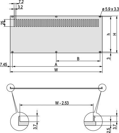 Schroff 19-inch Rear Panel, 3U, 28HP, , Ventilated, Grey, Aluminium
