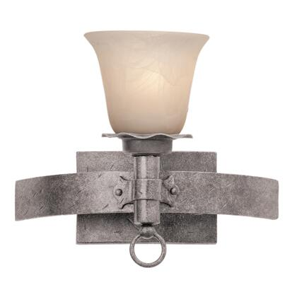 Americana 4201CI/1502 1-Light Bath in Country Iron with Large Faux Calcite Standard Glass