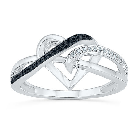 Womens 1/8 CT. T.W. White and Color Enhanced Black Diamond Sterling Silver Cocktail Ring, 6 1/2 , No Color Family