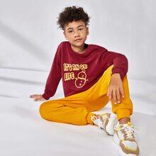 Pullover mit Weihnachten & Buchstaben Grafik & Jogginghose Set