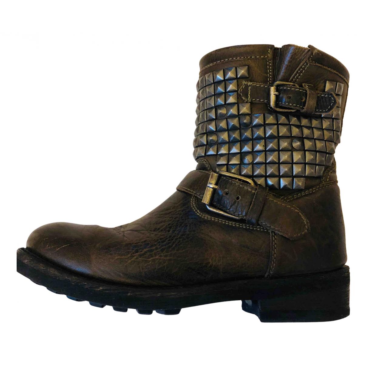 Ash - Boots   pour femme en cuir - marron