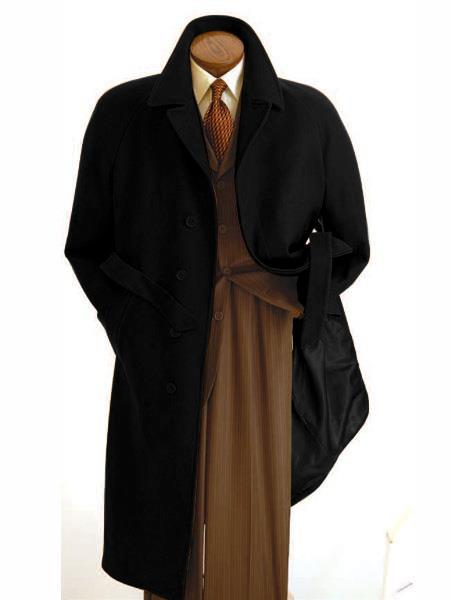 Mens  Diamond Duster Overcoat Black