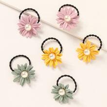 6pcs Toddler Girls Flower Decor Hair Tie