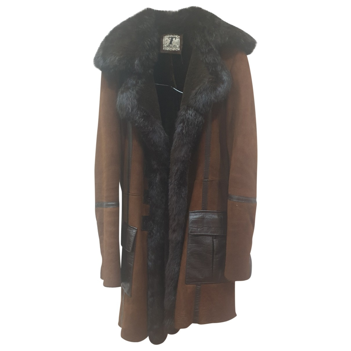 Non Signé / Unsigned Hippie Chic Brown Fur Leather jacket for Women 42 IT