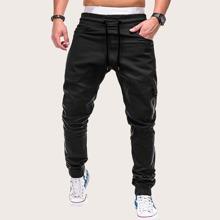 Pantalones de hombres con bolsillo con solapa con diseño de cremallera de cintura con cordon