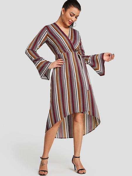 Yoins Multi Stripe Bell Sleeves Crossed Front Dress with Belt