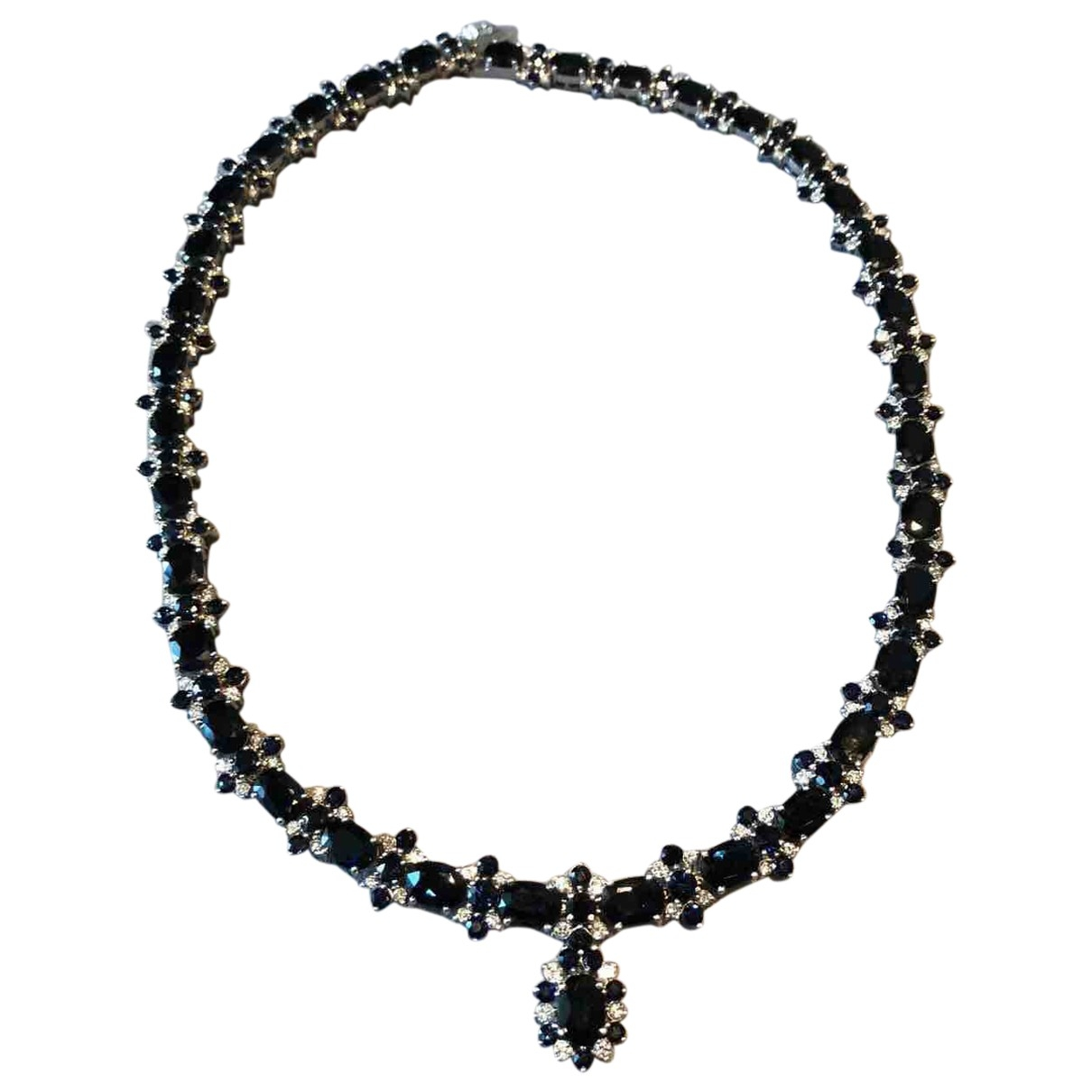 Non Signé / Unsigned Saphir Navy White gold necklace for Women \N