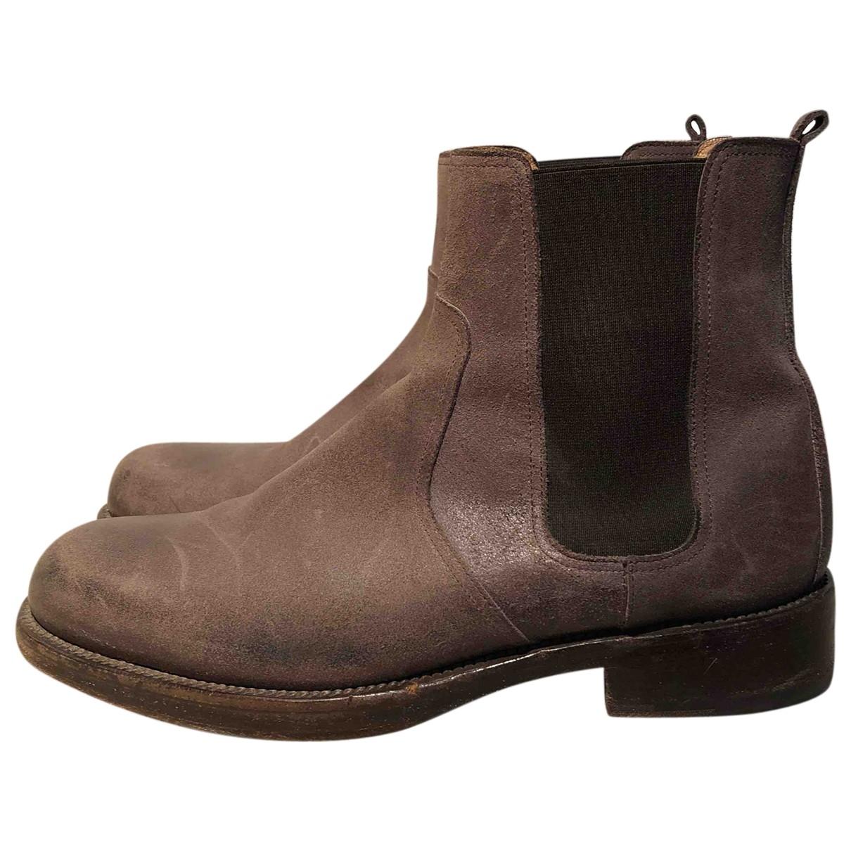 Hermes - Bottes.Boots   pour homme en cuir - gris