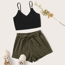 O-ring Cami Crop Top & Belted Cuffed Shorts Set