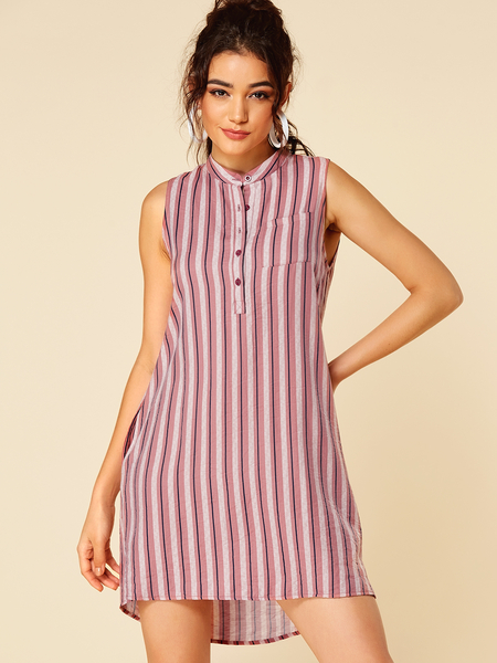 YOINS Pink Stripe Round Neck Sleeveless Dress