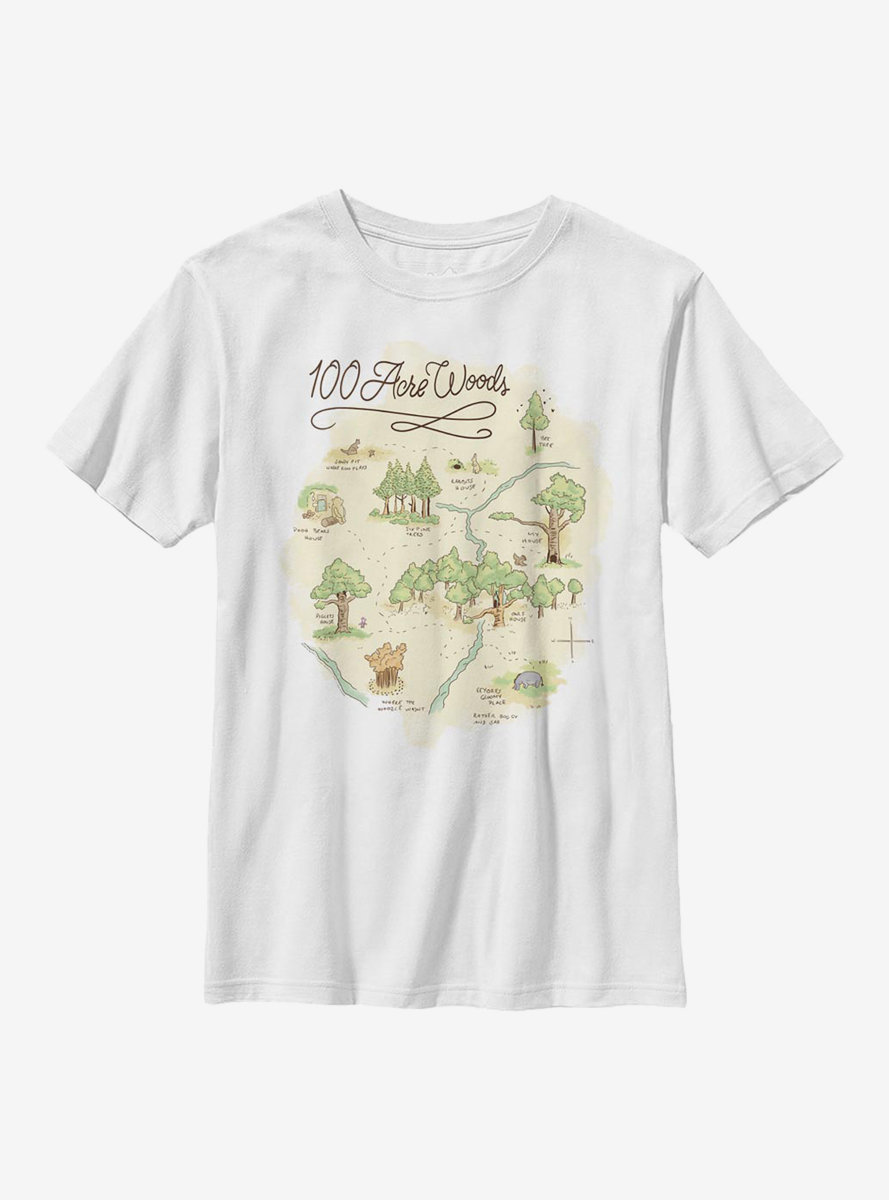 Disney Winnie The Pooh 100 Acre Map Youth T-Shirt