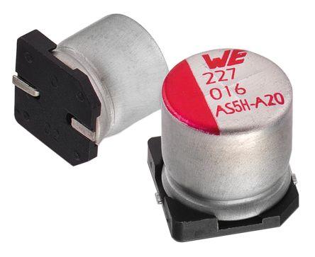 Wurth Elektronik 100μF Electrolytic Capacitor 10V dc, Surface Mount - 865080243007 (25)