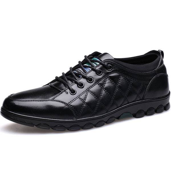 Men Soft Cow Leather Lace Up Casual Shoes