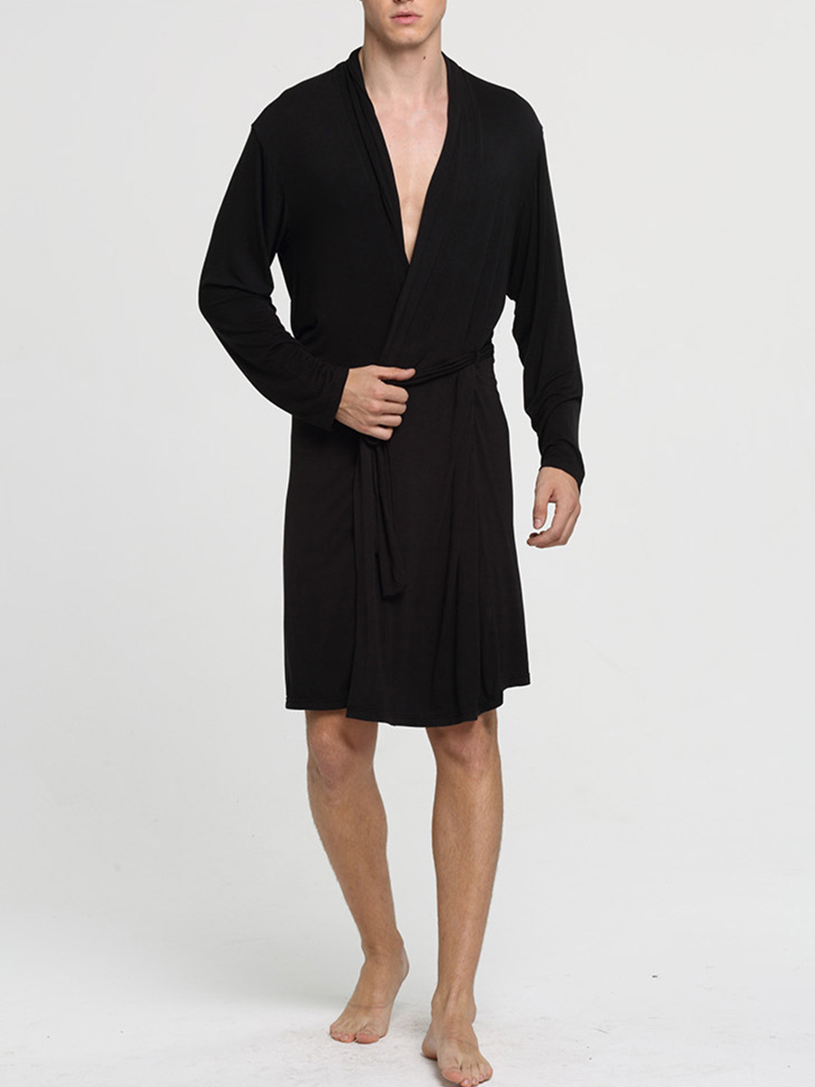 Black Big Yards Lace-Up Viscose Material Male Bathrobe