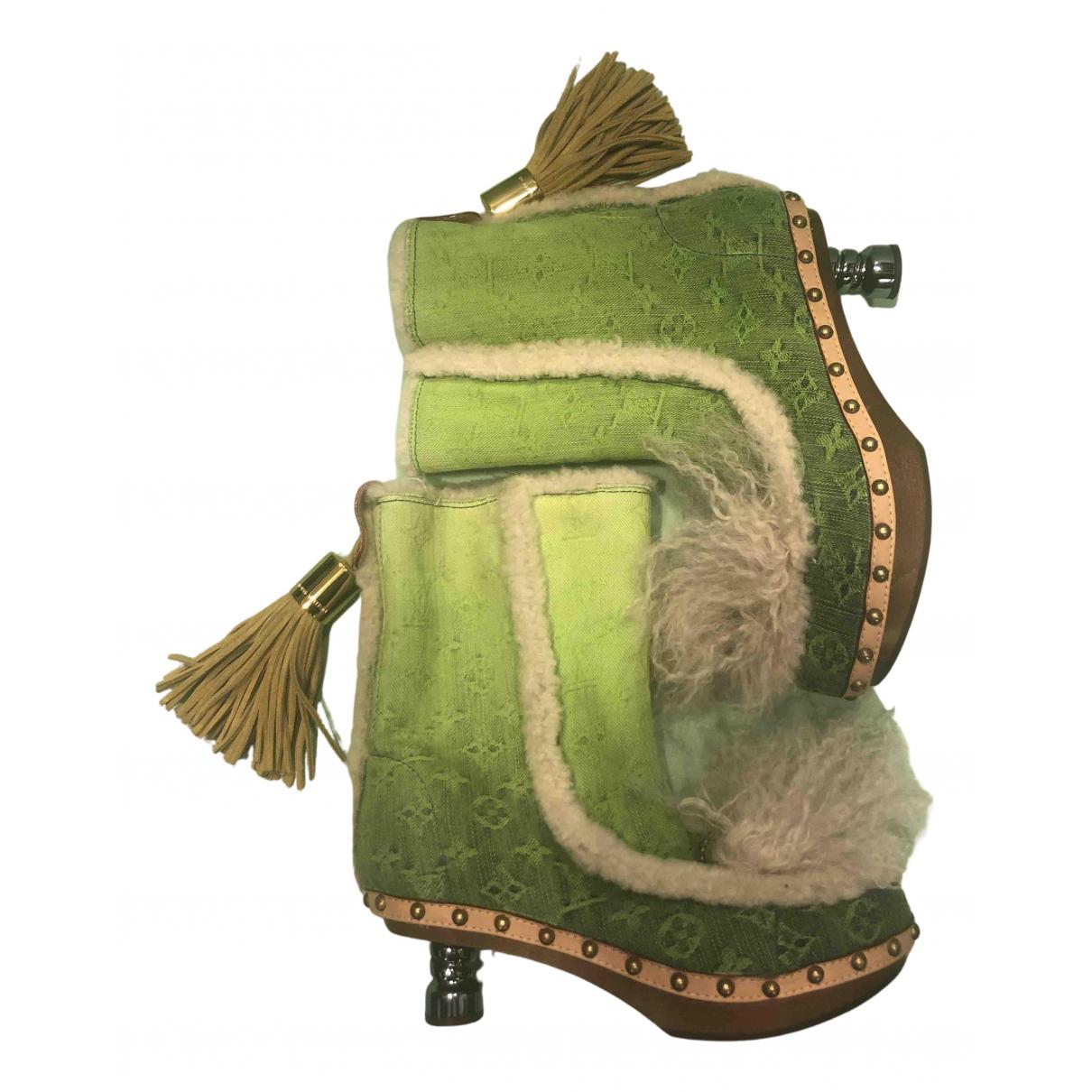 Louis Vuitton - Boots   pour femme en toile - vert